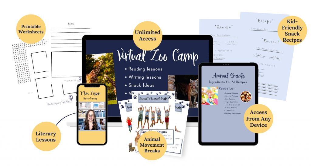 Virtual Zoo Camp image of everything included in this summer reading program for summer slide prevention, including literacy lessons, animal movement breaks, animal snack recipes, and printables.